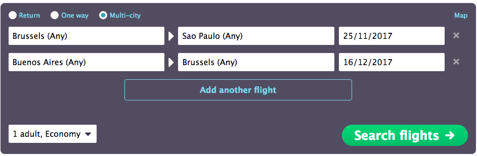 Flight search: multi-city