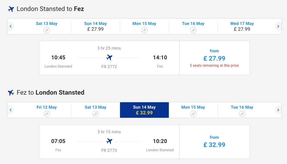 Search screen: Ryanair flights