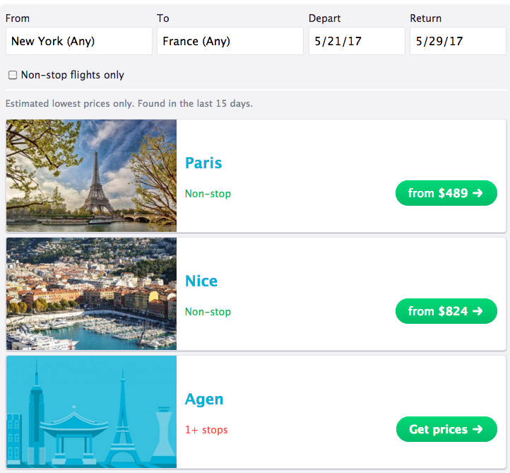 Flight search: flights to country