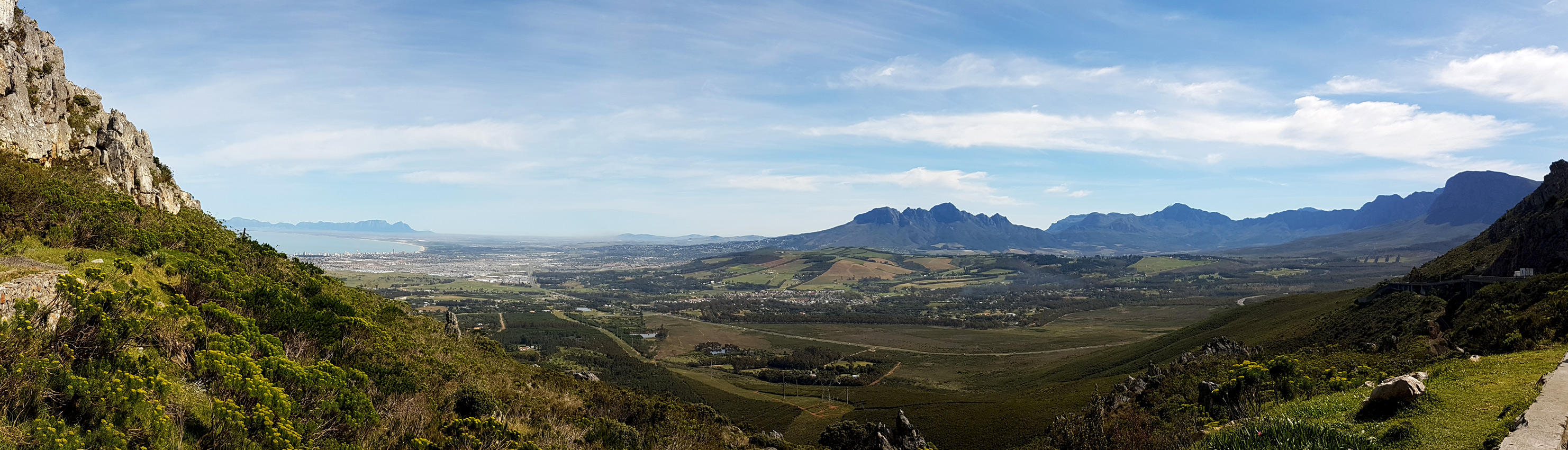 View from Stellenbosch to Cape Town