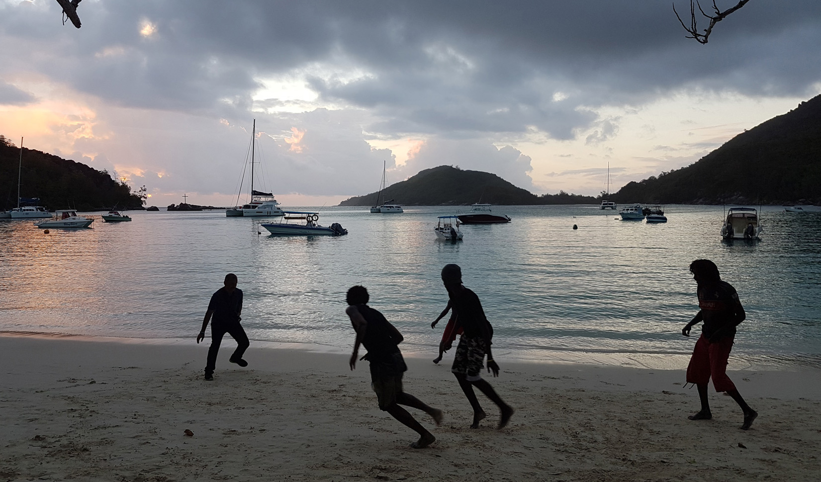 Playing through the sunset, Mahe, Seychelles