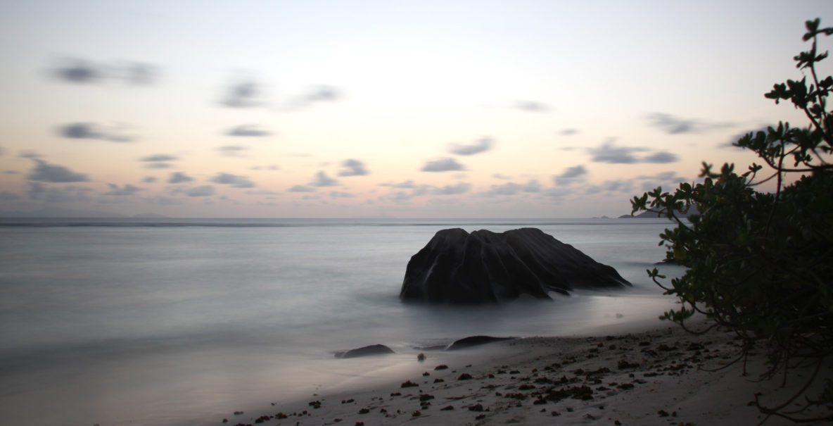 Mood shortly after sunset in Anse Source d'Argent, La Digue, Seychelles