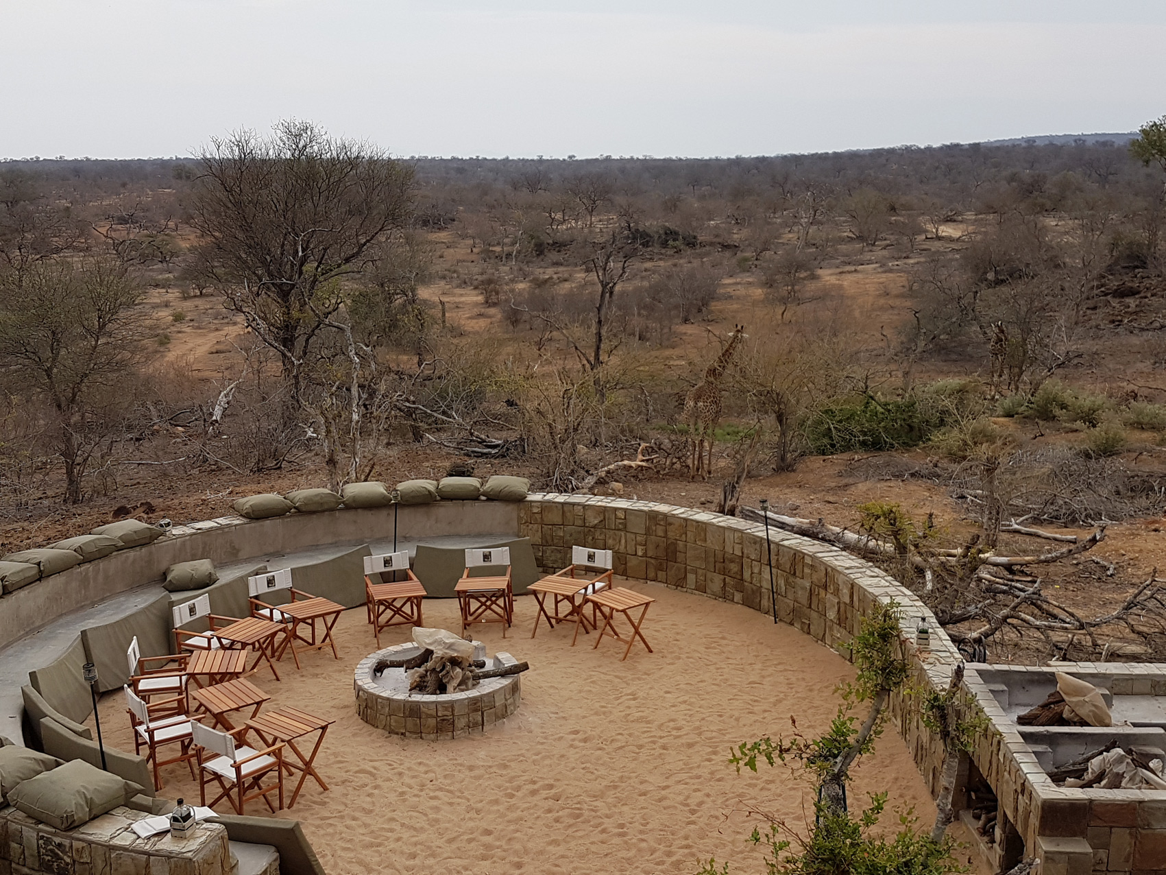 Outside area with giraffe, Naledi Bush Camp